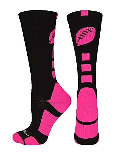MadSportsStuff Football Logo Crew Socks (Black/Neon Pink, -