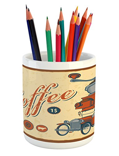 Ambesonne Retro Pencil Pen Holder, Artsy Commercial Design of Vintage Truck with Coffee Grinder Old Fashioned, Printed Ceramic Pencil Pen Holder for Desk Office Accessory, Cream Orange Grey by Ambesonne