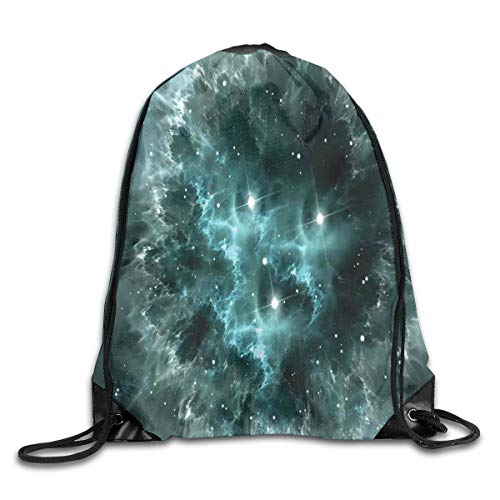 Unisex Drawstring Bag Gym Bags Storage Backpack,Space Nebula In The Space With Crystal Star Cluster Galaxy Solar System Cosmos Print