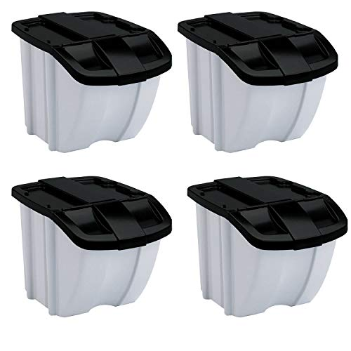 (Suncast 18 Gallon Indoor or Outdoor Stacking Recycle Storage Bin, Gray (4 Pack))