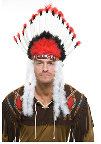 Feather Headdress Indian (Red & White with Black Crown Indian Headdress)