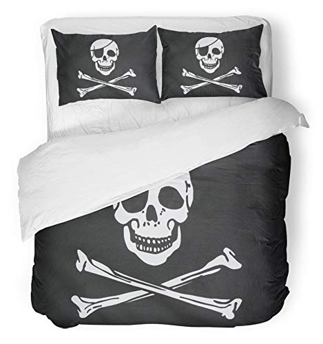 Emvency 3 Piece Duvet Cover Set Breathable Brushed Microfiber Fabric Jolly Pirate Flag Closeup Roger Skull Patch Eye Infringement Copyright Anarchy Bedding Set with 2 Pillow Covers Twin Size ()