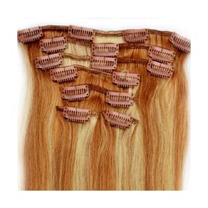 """Mike & Mary Clip in Hair Extensions 18"""" Straight Human Hair Extensions 7pcs Set 70 grams with 16 Clips 100% Remy Human Hair (Strawberry Blonde/Bleached Blonde #27/613)"""