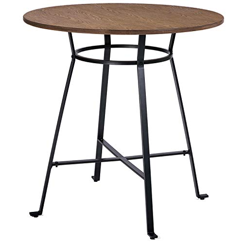 Harper Bright Designs 36 Height Retro Rustic Pub Bar Table Round Wood Table with Heavy-Duty Metal Legs