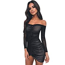 Sumen Women Off Shoulder Mesh Pleated Tube Top Party Cocktail Mini Dresses