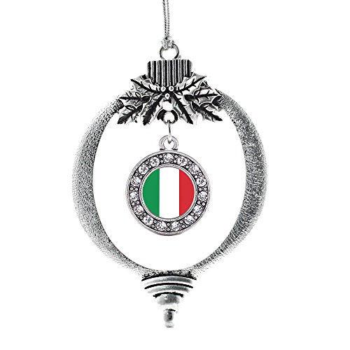 Inspired Silver - Italian Flag Charm Ornament - Silver Circle Charm Holiday Ornaments with Cubic Zirconia Jewelry