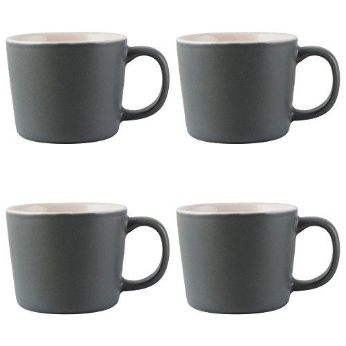 (La Cafetière Barcelona Ceramic Espresso Cups, 100 ml - Cool Grey (Set of 4))