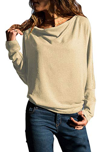Grace's Secret Womens Tops Long Sleeve T Shirt Cowl Neck Casual Slim Tunic Tops for Women Beige