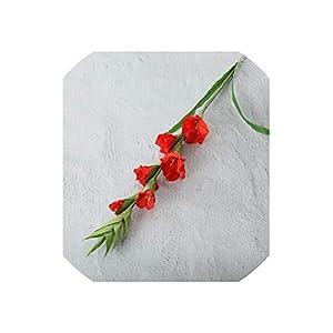 99Cm 6 Heads Artificial Gladiolus Decor Home Garden Wedding Flower Fake Plant,Red