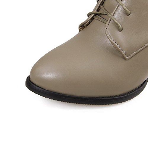 AgooLar Kitten Low Heels Boots Punta Zipper para top Grey mujer Solid estrecha F1WwFTxHq