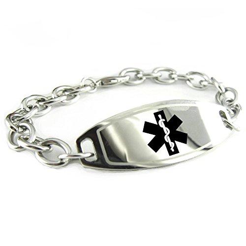 My Identity Doctor Custom Engraved Womens Medical Alert Bracelet, Steel 6mm O-Link Chain, Medium - Black