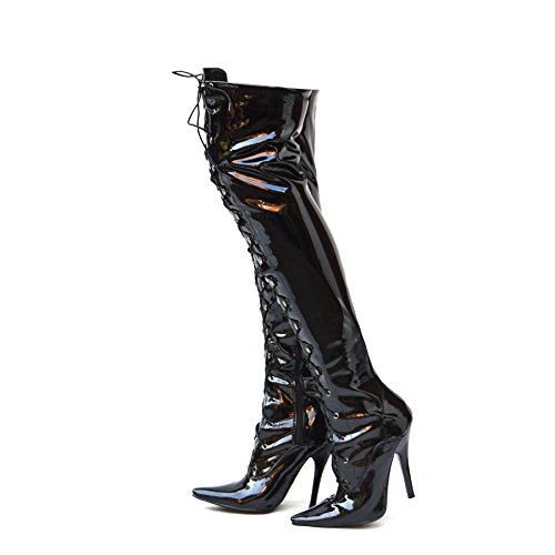 High Heel Lace High Patent Footwear Black Stiletto Stiefel Zip Thigh Womens Sexy Knee Ladies Kick Over Up 7Yzqa0Uz