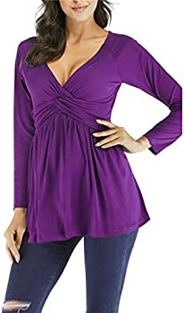 Zippem Womens Long Sleeve V Neck Loose Solid Casual Top