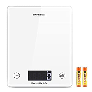 SimpleTaste Digital Kitchen Scale Multifunction Cooking and Baking Scale, 22lb 10kg, Tempered Glass, Backlit LCD Screen, White