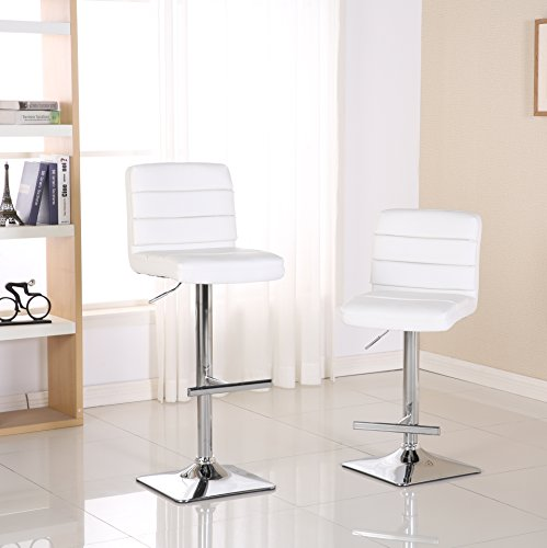 Roundhill Furniture PC172WH Bradford Faux Leather Swivel Height Adjustable Bar Stool, (Adjustable Height Square Stool)