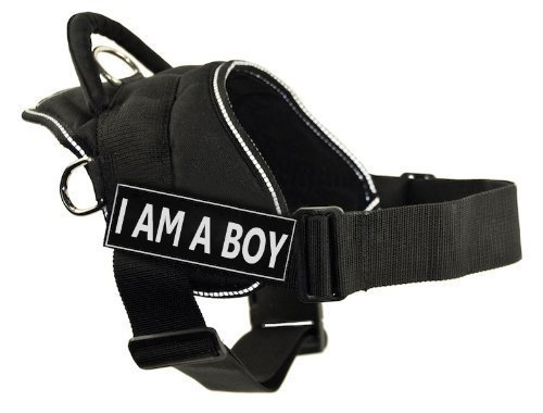 Dean & Tyler Fun Harness, I Am A Boy, Black with Reflective Trim, XX-Small, Fits Girth Size  18-Inch to 22-Inch