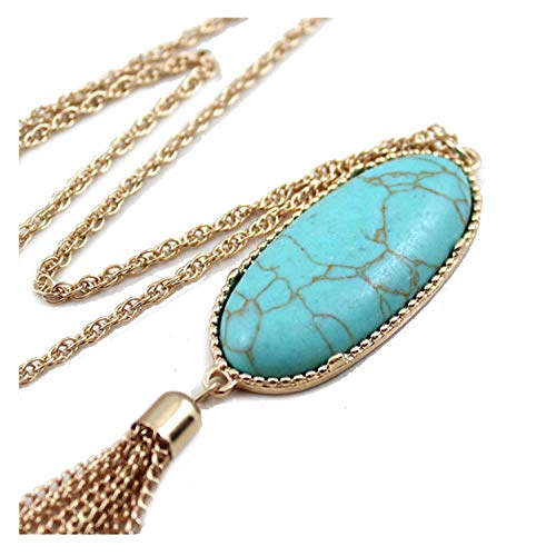 Colorful Natural Abalone Shell Tassel Necklace Gold Color Long Chain Bohemia Pendant Necklaces for Women Fashion Girls,Turquoise
