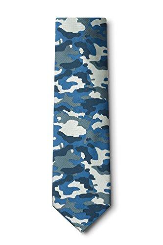 Camouflage Woodland Navy Blue Microfiber - Camouflage Necktie
