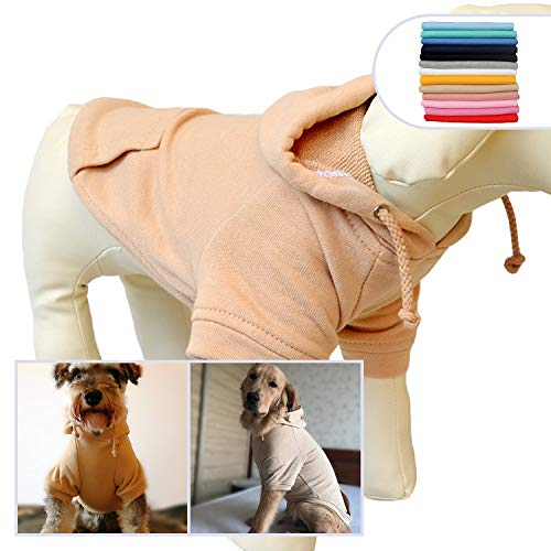 - Lovelonglong Pet Clothing Clothes Dog Coat Hoodies Winter Autumn Sweatshirt for Small Middle Large Size Dogs 11 Colors 100% Cotton 2018 New (S, Beige)
