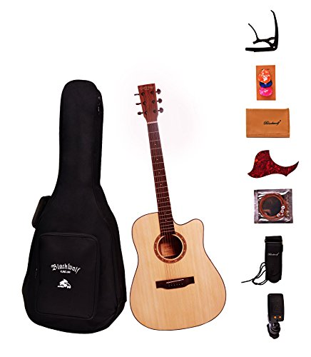"""Black Wolf Beginners Acoustic Guitar 41"""" Natural Color Cutaway Bundle with Gig Bag, Tuner, Strings, Strap, Picks and Polishing Cloth S1"""