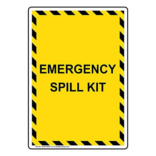 Emergency Spill Kit Label Decal, 5x3.5 in. 4-Pack Vinyl for Hazmat Industrial Notices Facilities by ComplianceSigns (Spill Kit Sticker)