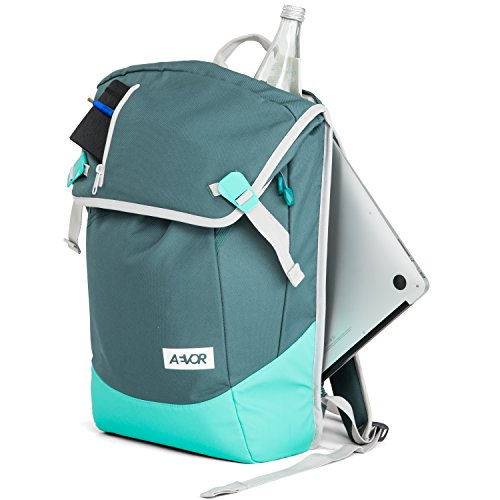 AEVOR Daypack Rucksack für die Uni und Freizeit inklusive Laptopfach und erweiterbar auf 28 Liter Rock Grain - schwarz Aurora Green - grün, mint