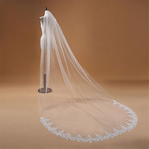Attach Combs - 3M Extra Long Monolayer Lace Edge Cathedral Wedding Bridal Veil with Attach Comb, Ivory