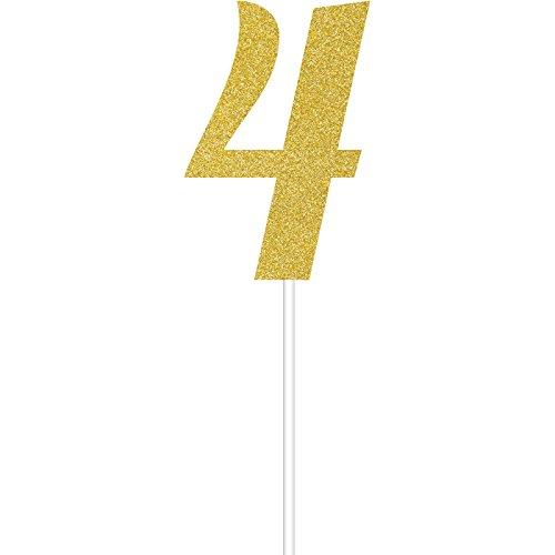 Gold Glitter 4 Cake Topper (Number Cake Topper 4)