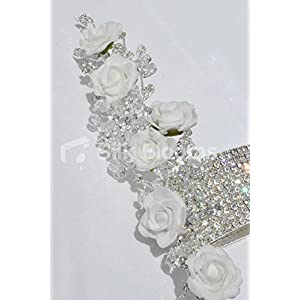 Silk Blooms Ltd White Foam Rose Artificial Wrist Corsage with Crystal Detailing and Bracelet 2