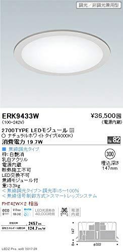 ENDO LEDサークルベースライト FHT42W×2灯相当 ナチュラルホワイト4000K 埋込穴φ300mm フラット乳白パネル 無線調光 ERK9433W(ランプ付) B07HQFPPXS