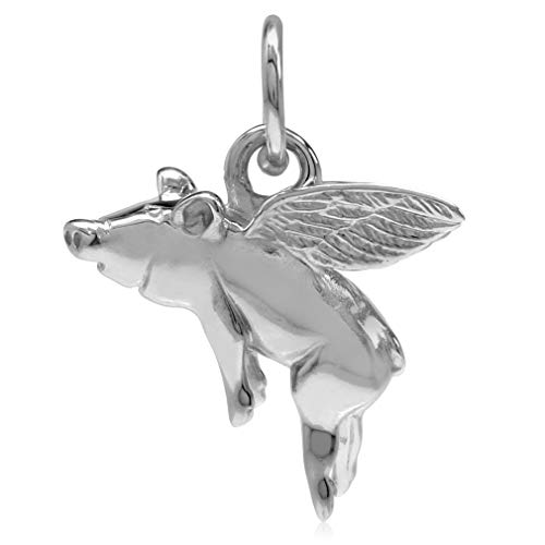 (925 Sterling Silver FLYING PIG Charm/Pendant)