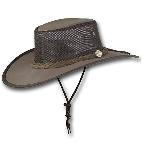 - Barmah Hats Wide Brim Canvas Cooler Hat 1087 (Large, Brown)