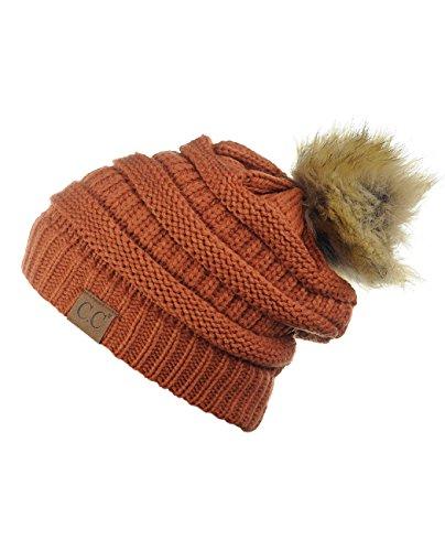 NYFASHION101 Exclusive Soft Stretch Cable Knit Faux Fur Pom Pom Beanie Hat - Rust