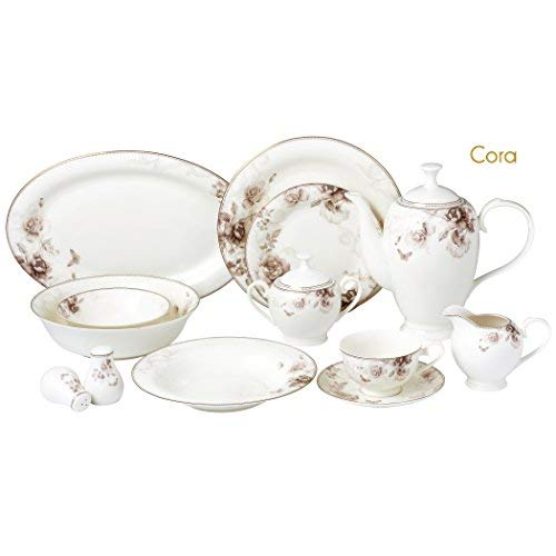 (Lorren Home Trends Cora-57 57 Piece Dinnerware Set-Bone China Service for 8 People-Cora One Size)