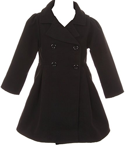 Girl Winter Dress Coat Long Sleeve Buttons and Pockets for Big Girl Black 6 J2049 by Aki_Dress