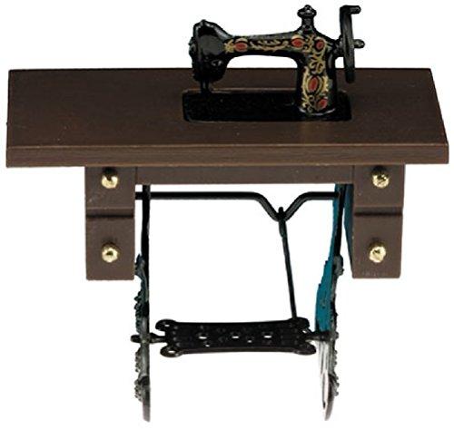 Miniature 1:12 Scale Sewing Machine on Walnut Stand