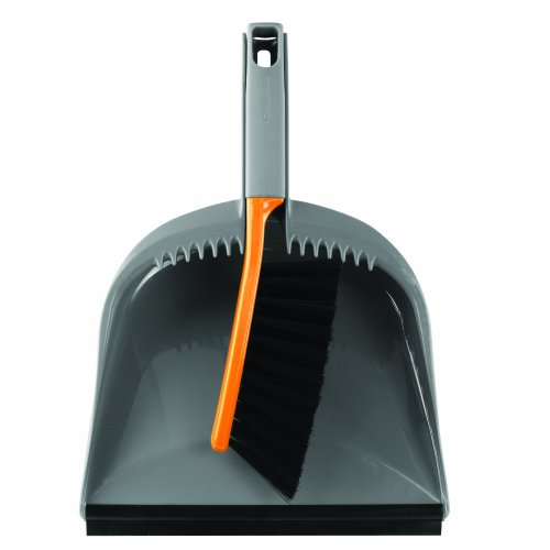 (Casabella 1 Count Dustpan and Brush Set, Graphite/Orange)