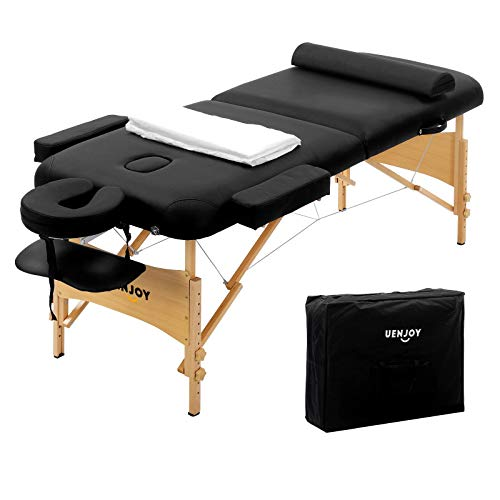 "Uenjoy Massage Table 84"" Professional Folding Massage Bed Deluxe Model with Extra Width, Ultra-thick Sponge, PU Leather Surface & Additional Accessories, 2 Fold, Black"