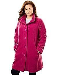 Plus Size Fleece Swing Funnel-Neck Jacket