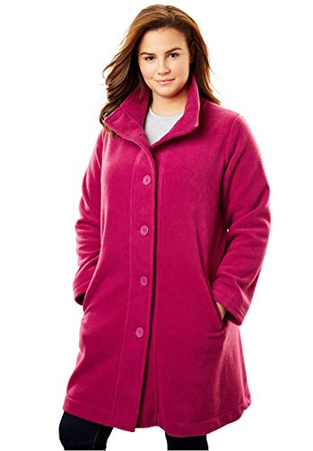 Woman Within Plus Size Fleece Swing Funnel-Neck Jacket - Magenta Berry, M -
