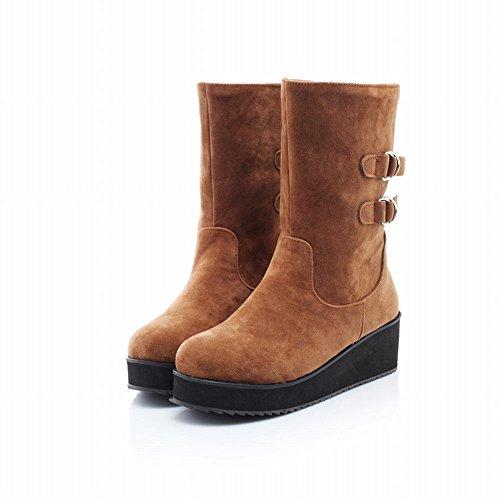 de8aa13d10fe02 ... Mee Shoes Damen runder toe warm gefüttert kurzschaft Stiefel Gelbbraun  ...