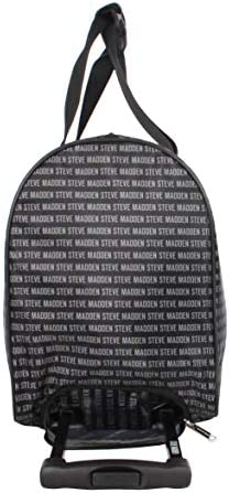 Steve Madden Designer Carry On Luggage Collection - Lightweight 20 Inch Duffel Bag- Weekender Overnight Business Travel Suitcase with 2- Rolling Spinner Wheels (Signature Black)