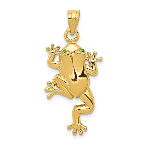 14k Yellow Gold Frog Enameled Eyes Pendant Charm Necklace Animal Man Fine Jewelry Gift For Dad Mens For - Frog Gold Pendant Charm