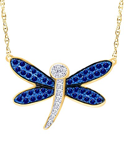 Wishrocks Round Cut Blue and White Sapphire Dragonfly Pendant Necklace in 10K Solid Gold