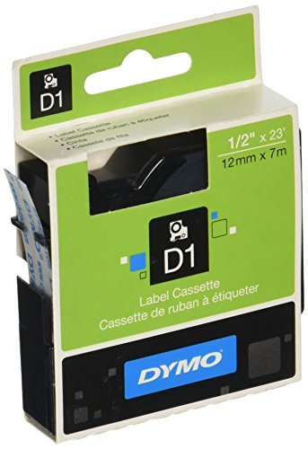 DYMO Standard D1 45010 Labeling Tape (Black Print on Clear Tape, 1/2'' W x 23' L, 1 Cartridge), DYMO Authentic
