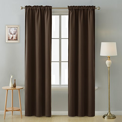 (Deconovo Rod Pocket Room Darkening Thermal Insulated Blackout Curtains Window Panels for Bedroom Width 38 Inch by Length 84 Inch Chocolate 2 Curtain Panels )