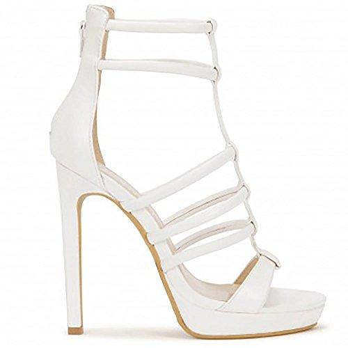 Pu Bianco Stiletti A Malapena Là Pelle Peep Toe Tacchi Alti Sandali Con Il Cinturino UK6/EURO39/AUS7/USA8