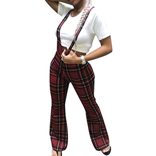 En Hongxin Baggy Rouge Jambe Plaid Femme Large Salopette Bretelles Boyfriend Vintage Jean Camouflage Flare Pant Pantalon Denim Bib vrrwt