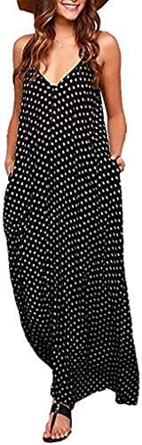 Exlura Women Casual Boho Plus Size Summer Maxi Dresses Polka Dot Floral Printed Adjustable Strappy DressPockets