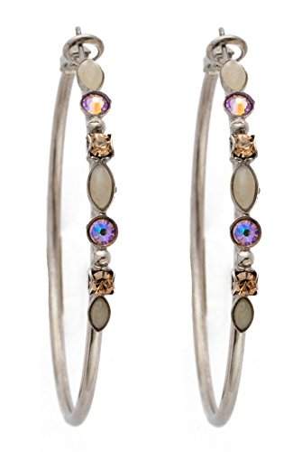 Colorado Crystal Lever Back Earrings - Sorrelli Large Mixed Media Mirage Swarovski Crystal Antique Silvertone Hoop Earring